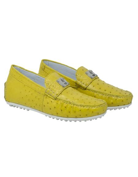 Mauri Ostrich Skin Driving Shoes Yellow