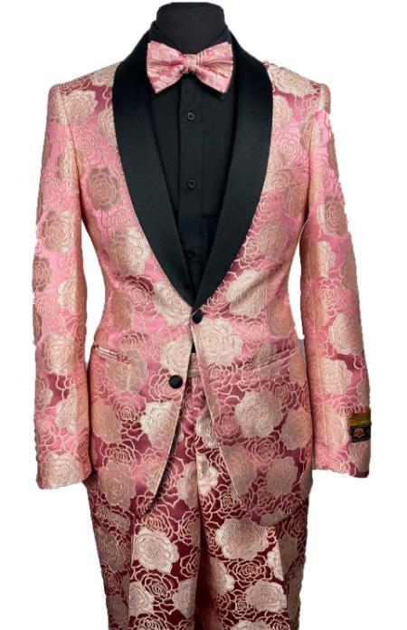 Floral Suits - Paisley Suit - Fashion Suits - Wedding Suit Pink