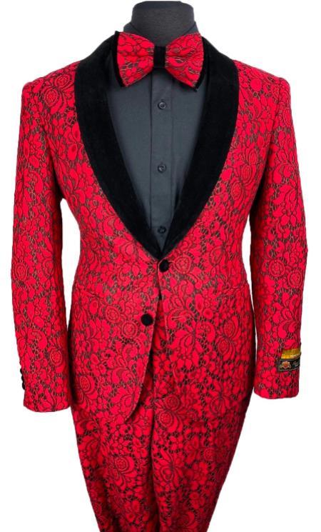 Floral Suits - Paisley Suit - Fashion Suits - Wedding Suit Red ~ Black