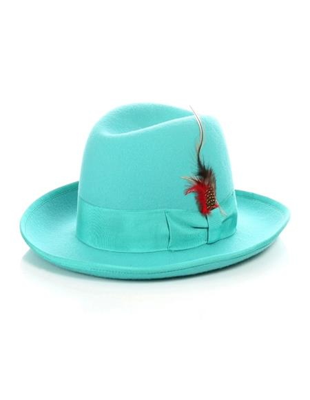 1920s Mens Hat - Gangster Hat - 20s Dress Wool Hat Turquoise