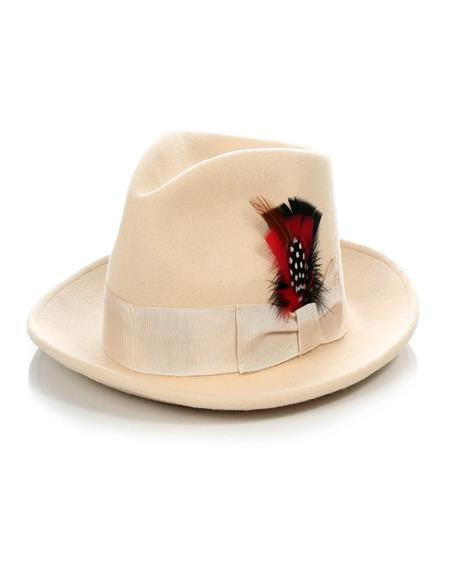 1920s Mens Hat - Gangster Hat - 20s Dress Wool Hat Light Tan