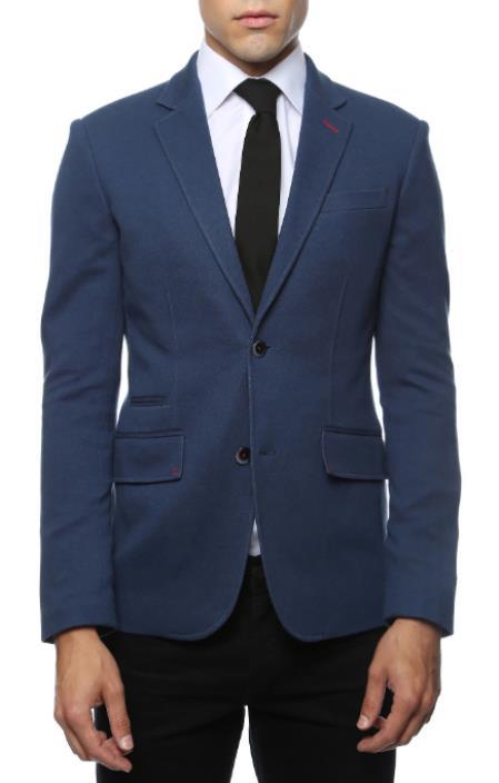 Mens Blue Blazer - Blue Sport Coat  - Casual Slim Fit Blazer