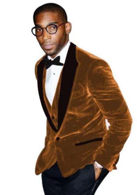 Light Brown Tuxedo - Velvet Fabric Dinner Jacket - Mens Blazer With Matching Bowtie