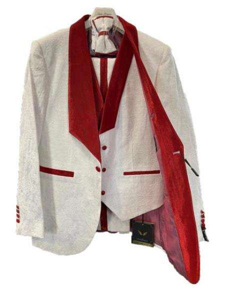 White and Burgundy Tuxedo - White and Red Tux - Vested Suit + Matching Pants + Plus Matching Bowtie