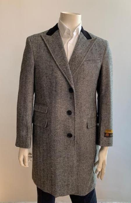 Mens Overcoat - Peak Lapel 1920s Style - Wool and Cashmere Car Coat Three Quarter By Albereto Nardon + Gray