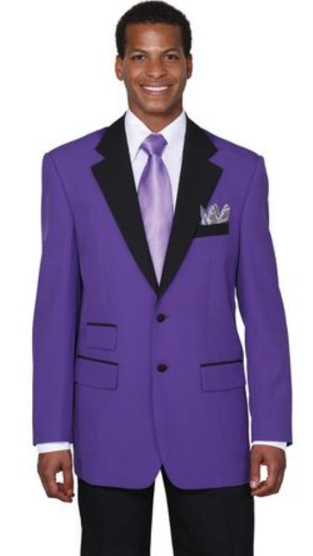 Mens Two Button Colorful Tuxedo Purple Jacket