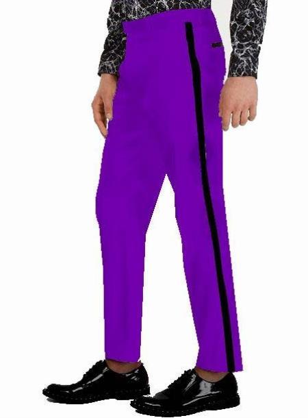 Tuxedo Pants - Flat Front Pants Purple
