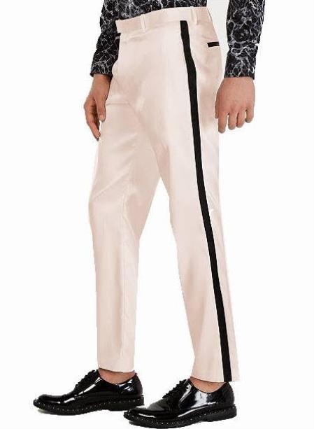 Tuxedo Pants - Flat Front Pants Ivory
