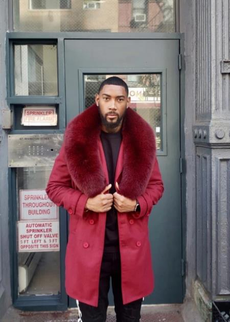 Fur Collars Mens Overcoat - Peacoat Wool and Cashmere Red