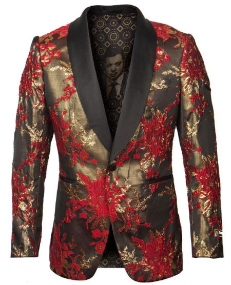 Mens One Button Red and Gold Tuxedo Jacket with Fancy Pattern - Blazer