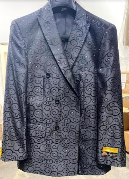 Mens Fancy Paisley Floral Black Mens Double Breasted Suits Jacket Blazer Sport Coat Jacket - Black D