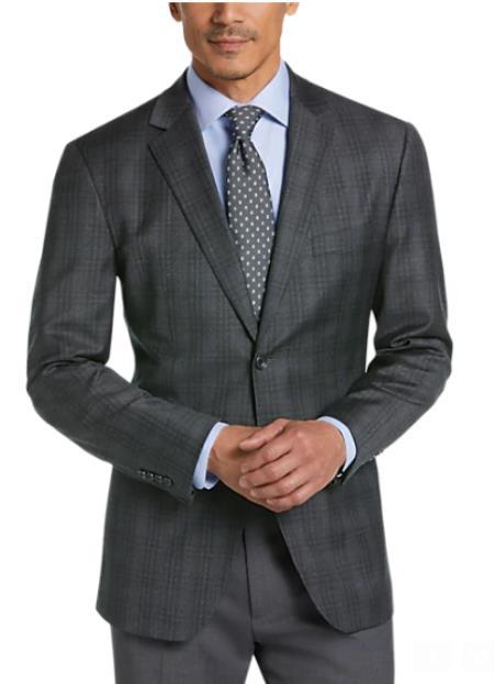 Charcoal Grey Blazer - Plaid Gray Blazer