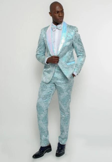 Floral Suit - Paisley Suit - Fashion Suit LBlue