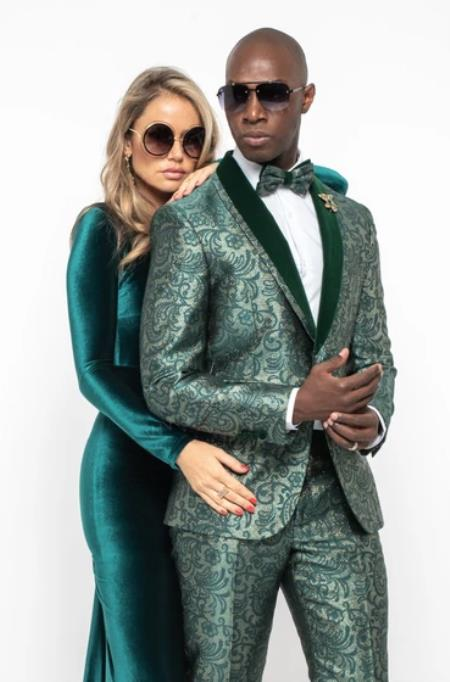 Floral Suit - Paisley Suit - Fashion Suit Green