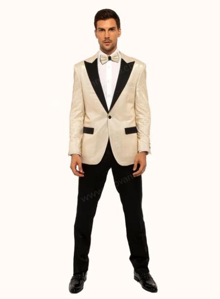 Ivory - Cream Velvet Tuxedo Dinner Jacket With Matching Bow Tie