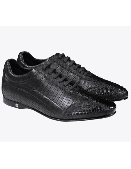 Mens Genuine Ostrich Leg and Calf Leather Rubber Sole Shoes