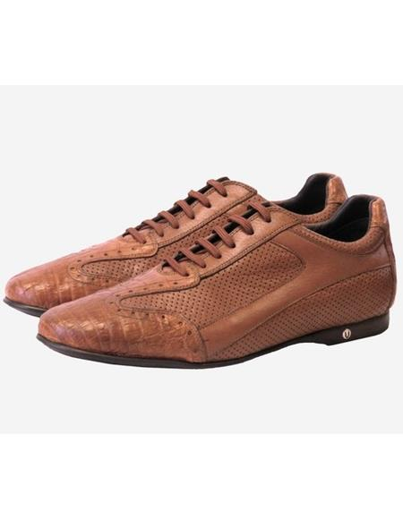 Mens Genuine Caiman Belly (Croc Species) and Calf Leather Rubber Sole Shoes