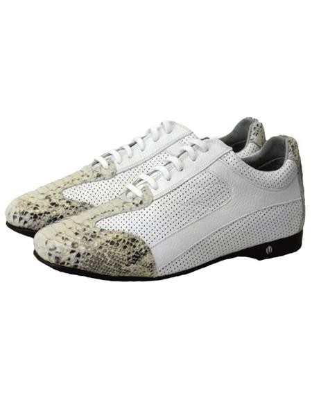 Mens Genuine Python and Calf Leather Rubber Sole Shoes