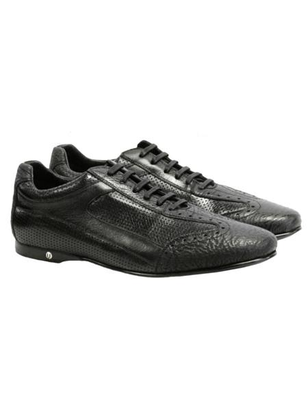 Mens Genuine Shark and Calf Leather Rubber Sole Shoes