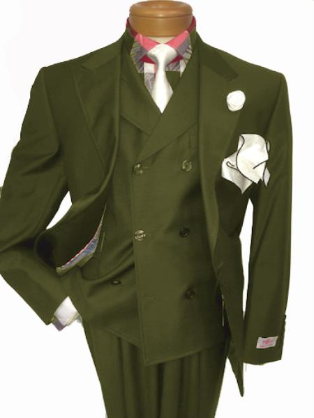 Men's Two Button Single Breasted Notch Lapel Suit Olive Green