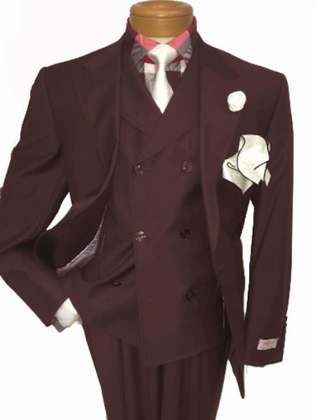 Men's Two Button Single Breasted Notch Lapel Suit Brown