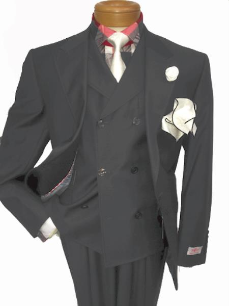 Men's Two Button Single Breasted Notch Lapel Suit Light Grey