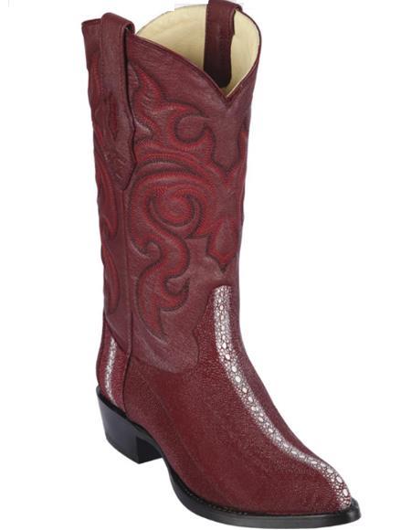 Los Altos Boots - Cowboy Boot - Stingray Boot - J Toe Boot - Western Boot Burgundy