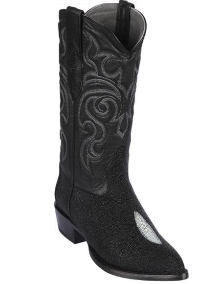 Los Altos Boots - Cowboy Boot - Stingray Boot - J Toe Boot - Western Boot Black