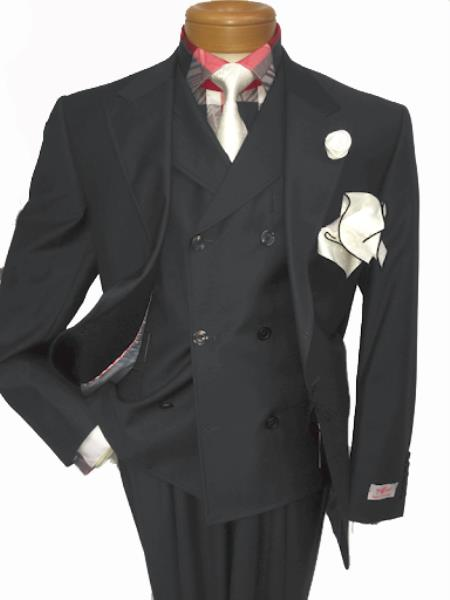 Men's Two Button Single Breasted Notch Lapel Suit Charcoal Grey