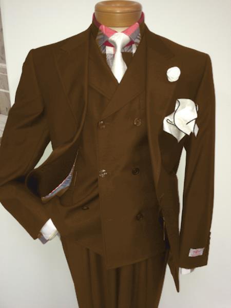 Men's Two Button Single Breasted Notch Lapel Suit Beige