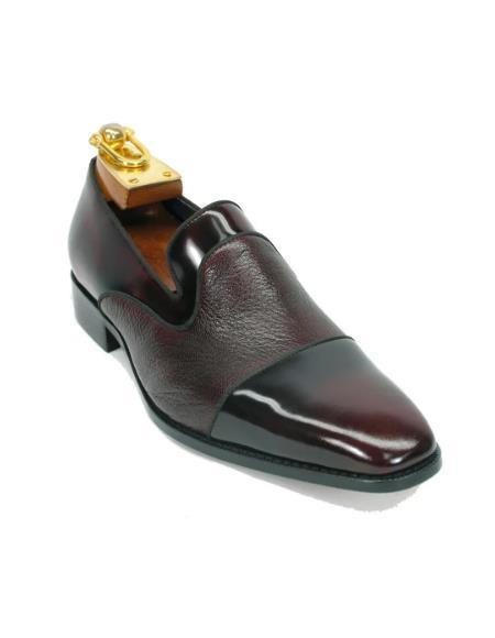 Mens Carrucci Shoes Mens Deerskin Leather Loafer-Burgundy