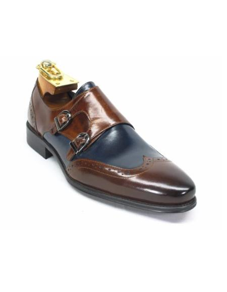 Mens Carrucci Shoes Mens Wingtip Double Monk Straps-Brown ~ Navy
