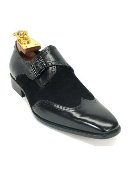 Mens Carrucci Shoes Mens Wingtip Buckle Loafer Black ~ Black Suede