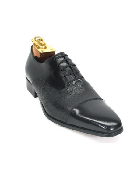 Mens Carrucci Shoes Mens Deerskin Oxford Black
