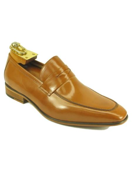Mens Carrucci Shoes Mens Leather Loafer-Tan