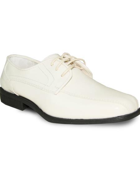 Men's Wide Width Dress Shoe Ivory Patent