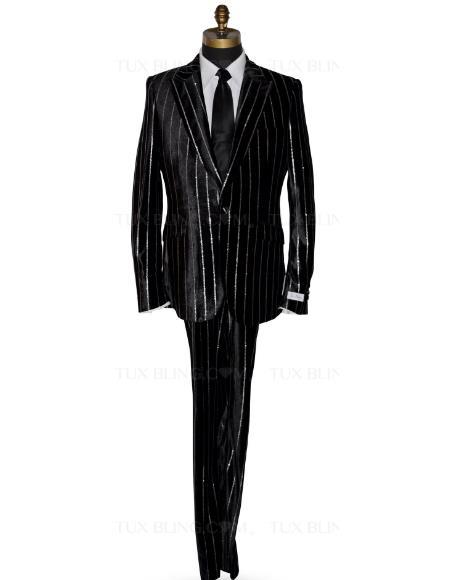 Men Velvet Suits One Button Peak Lapel Black Velvet Tuxedo Jacket Color: Black And Gold Pinstripe