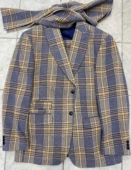 Men's Two Button Peak Lapel Light Blue Suit