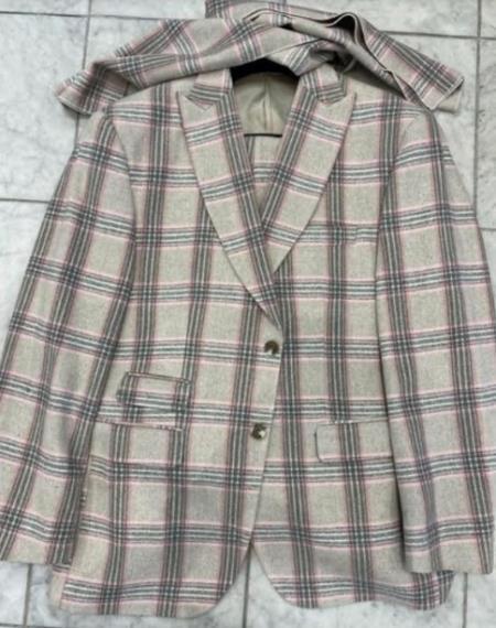 Men's Two Button Peak Lapel Tan Suit