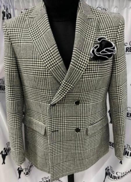 Men's Two Button Peak Lapel Black ~ White Suit