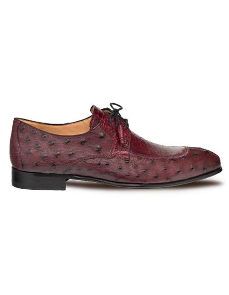 Men's Mezlan Genuine Ostrich Quill And Ostrich Paw Shoes Burgundy