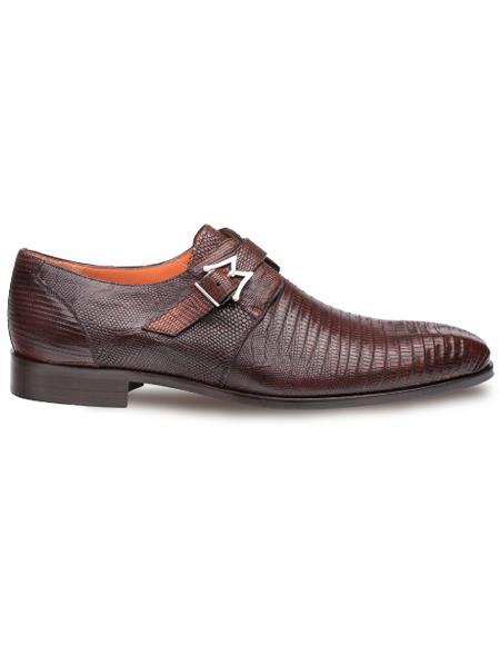 Men's Genuine Lizard Elegant Plain Toe Exotic Monk Strap Shoes Cognac