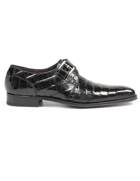Men's Genuine Crocodile Classic Exotic Monk Strap Shoes Black