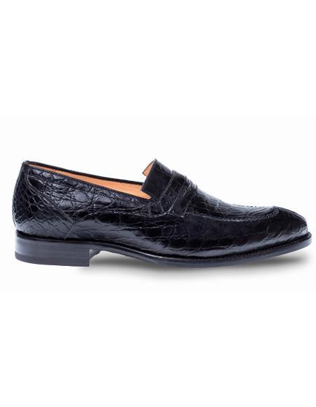 Men's Mezlan Genuine Crocodile Classic Full Exotic Penny Loafer Shoes Black