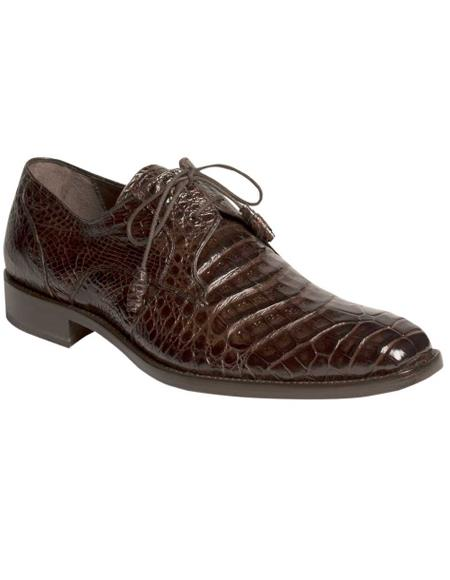 Men's Mezlan Genuine Crocodile with Crocodile-Wrapped Tassels Shoes Dark Brown
