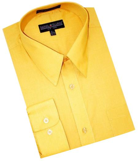 Product# RK590 Gold~Yellow~Mustard Cotton Blend Dress Shirt With Convertible Cuffs