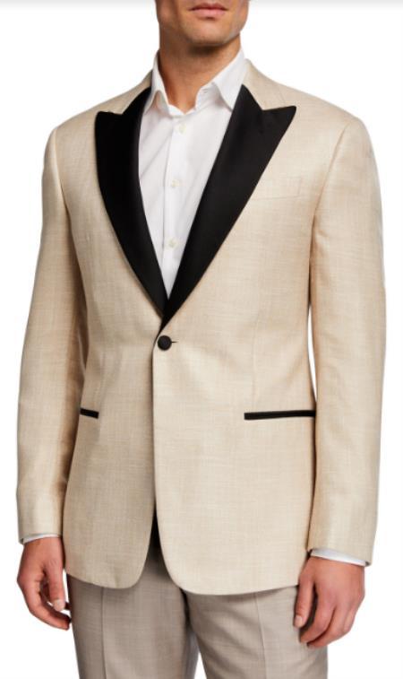 Champagne Tuxedo - Tan Tuxedo - Mens Velvet Blazer With Matching Bowtie - Slim Fit