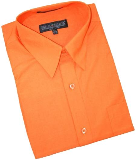 Orange Cotton Blend Dress