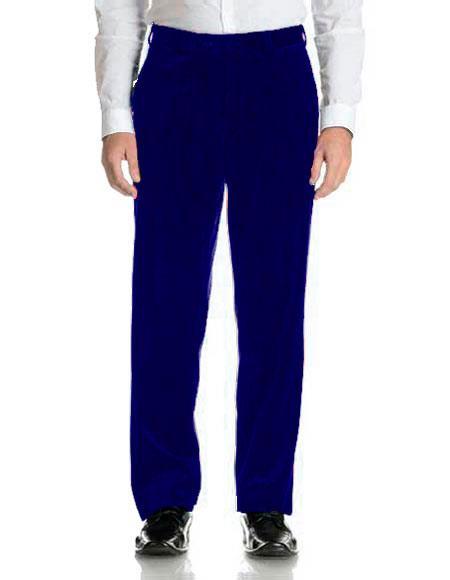 Mens Navy Blue Velvet Flat Front Modern Fit Pant