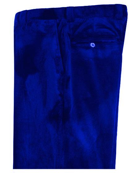 Mens Royal Blue Velvet Pants Flat Front Unhemmed Unfinished Bottom